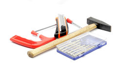 Engineering instruments. Mix of engineering tools in white isolated background Royalty Free Stock Images