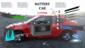 Engineering interface against mechanic changing car battery stock illustration