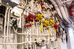 Engineering interior of aircraft carrier Stock Photos