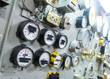 Engineering interior of aircraft carrier Royalty Free Stock Photography