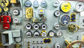 Engineering interior of aircraft carrier Stock Image