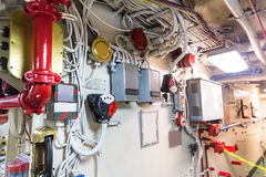 Engineering interior of aircraft carrier Royalty Free Stock Photos