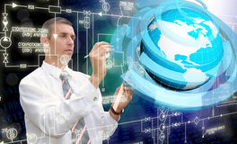 Engineering  Internet technologies. Creation digital connection technology Stock Photography