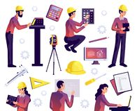 Engineering Isolated Set. Of civil construction workers architects and surveyors with special equipment isolated vector illustration Stock Images