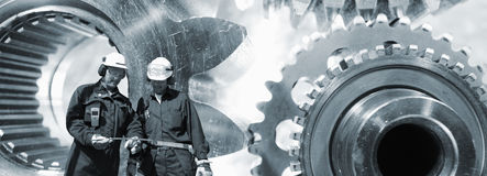 Engineering and large gears wheels machinery Stock Photos