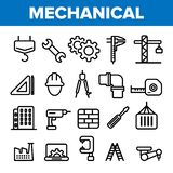 Engineering Line Icon Set Vector. Technician Design. Machinery Engineering Icons. Industrial Factory Production. Thin vector illustration