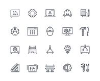 Engineering line icons. Work project, mechanical and electrical engineering. Measuring, development and production royalty free illustration