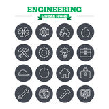 Engineering linear icons set. Thin outline signs Stock Photo