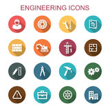 Engineering long shadow icons. Flat vector symbols Royalty Free Stock Photo