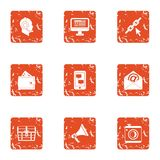 Engineering mail icons set, grunge style. Engineering mail icons set. Grunge set of 9 engineering mail vector icons for web isolated on white background Royalty Free Stock Images