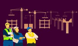 Engineering male female standing looking at sky front of the constructor. vector illustration eps10 vector illustration