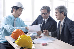 Engineering man and senior architecture team project meeting in Royalty Free Stock Images