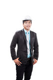 Engineering man wearing white safety helmet standing and smiling Royalty Free Stock Image
