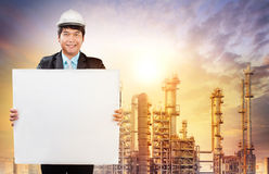 Engineering man with white empty white broad standing in front o Royalty Free Stock Photography