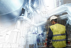 Engineering man working on power plant as operator Royalty Free Stock Images