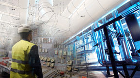 Engineering man working on power plant as operator. Against drawing combined with picture Royalty Free Stock Image