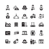 Engineering manufacturing industrial vector icon set Stock Photos