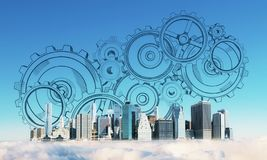 Engineering and mechanism concept. Creative New York city skyline on blue sky background with drawn cogwheels. Engineering and mechanism concept. Double exposure royalty free stock photos