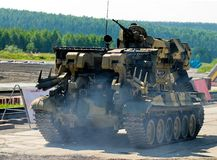 Engineering military vehicle. To repair destroying structure stock images