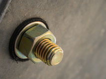 Engineering parts, screw, washer and nut. The golden screw with washer and nut are used to support the metal surface structure Royalty Free Stock Photography