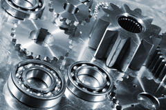 Engineering parts in titanium and steel Royalty Free Stock Image