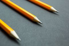 Engineering pencils on a black background, selective focus stock image