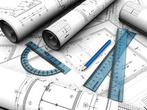 Engineering plan. Modern  engineering plan with pencil and rules on it Royalty Free Stock Photo