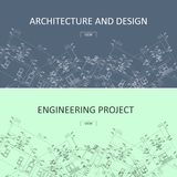 Engineering project and architecture design web banners.Technical drawing, building construction. Industrial architecture vector illustration