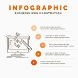 engineering, project, tools, workshop, processing Infographics Template for Website and Presentation. Line Gray icon with Orange vector illustration