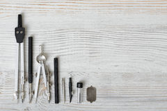 Engineering and school instruments are in a row. Royalty Free Stock Photography