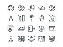 Engineering. Set of outline vector icons. Includes such as Manufacturing, Engineer. Tool, Production, Settings and other Royalty Free Stock Image
