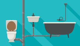 Engineering sewer system. Sewer system with pipes, toilet, bath and sink. Vector flat banner of engineering sewer pipes system with long shadow Stock Photos