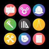 Engineering silhouette icons set. Drawing, gears, helmet, caliper, divider, hammer and wrench, measuring tape Royalty Free Stock Image