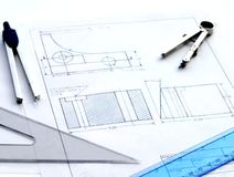 Engineering Sketch. Engineering drawing of an l-shaped part Stock Images