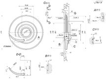 Engineering sketch of wheel with blades Stock Photography