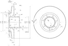 Engineering sketch of wheel with span Royalty Free Stock Images