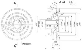 Engineering sketch of wheel with span and radical Royalty Free Stock Photo