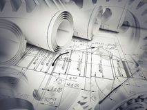 Engineering sketches with glasses Royalty Free Stock Photos