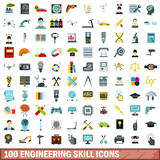 100 engineering skill icons set, flat style. 100 engineering skill icons set in flat style for any design vector illustration Royalty Free Stock Photos