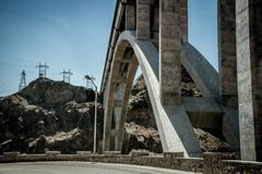 Engineering structures of Hoover Dam, Nevada. Arched Bridge over the Colorado River. Boulder City, Nevada, USA - June 19, 2017: The Hoover Dam, a hydroelectric Stock Photos