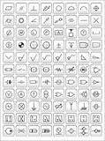 Engineering symbols. Vector icons of most frequently used engineering symbols Royalty Free Stock Images
