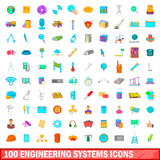 100 engineering systems icons set, cartoon style. 100 engineering systems icons set in cartoon style for any design vector illustration Stock Images
