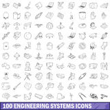 100 engineering systems icons set, outline style. 100 engineering systems icons set in outline style for any design vector illustration Stock Photos