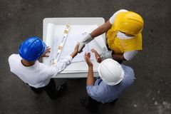 Top view of engineer team having agreement Royalty Free Stock Image