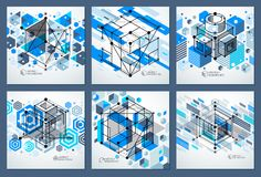 Engineering technological blue vector 3D wallpapers set made wit. H cubes and lines. Illustration of engineering system, abstract technological backdrop Stock Photography