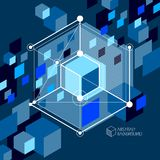 Engineering technological dark blue vector 3D wallpaper made wit. H cubes and lines. Illustration of engineering system, abstract technological backdrop Royalty Free Stock Photography