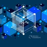 Engineering technological dark blue vector 3D wallpaper made wit. H cubes and lines. Illustration of engineering system, abstract technological backdrop Stock Photography