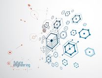 Engineering technological vector wallpaper made with hexagons, c. Ircles and lines. Modern geometric composition can be used as template and layout. Abstract Stock Images