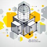 Engineering technological yellow vector 3D wallpaper made with c vector illustration