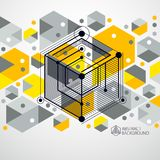 Engineering technological yellow vector 3D wallpaper made with c. Ubes and lines. Illustration of engineering system, abstract technological backdrop. Abstract Royalty Free Stock Photos